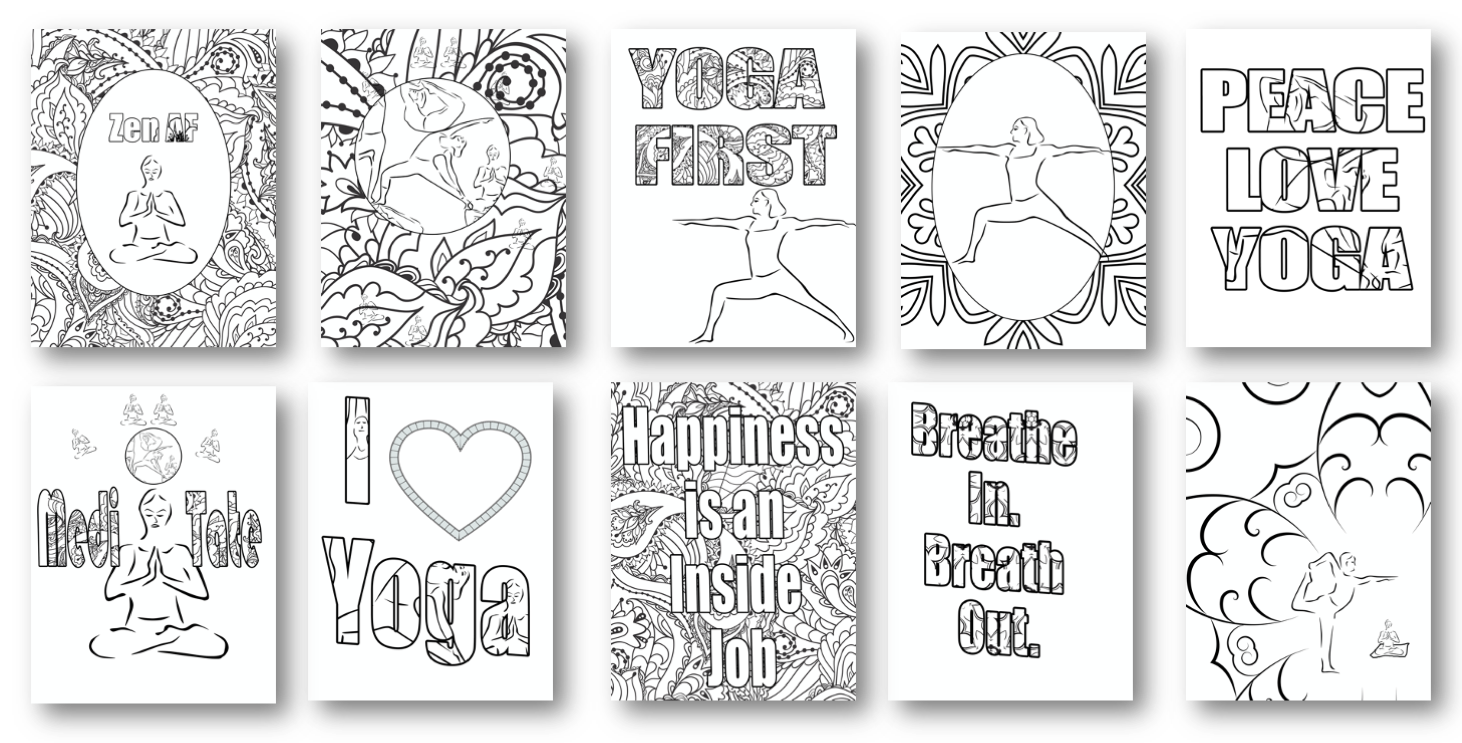 Yoga Coloring Pages with PLR