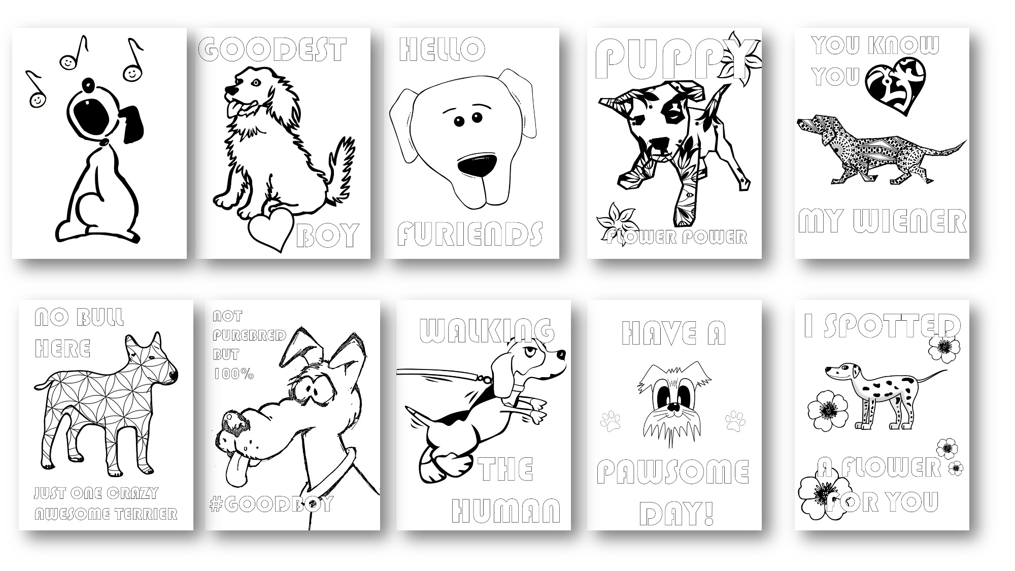 Dog Coloring Pages with Private Label Rights
