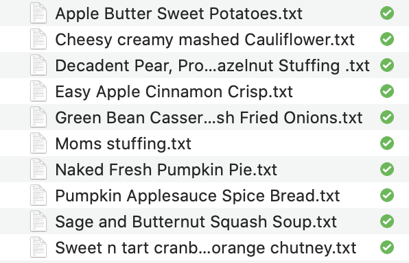 Thanksgiving Recipes in Text Format
