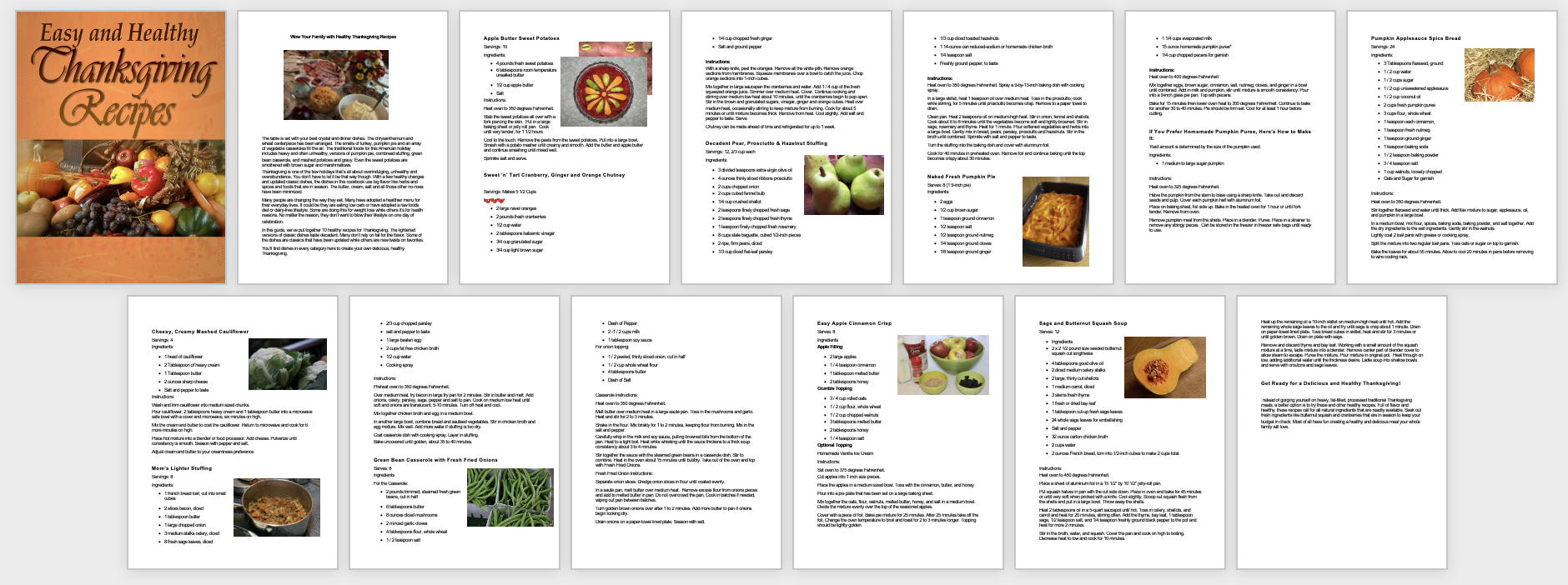 Healthy Thanksgiving Recipe Book