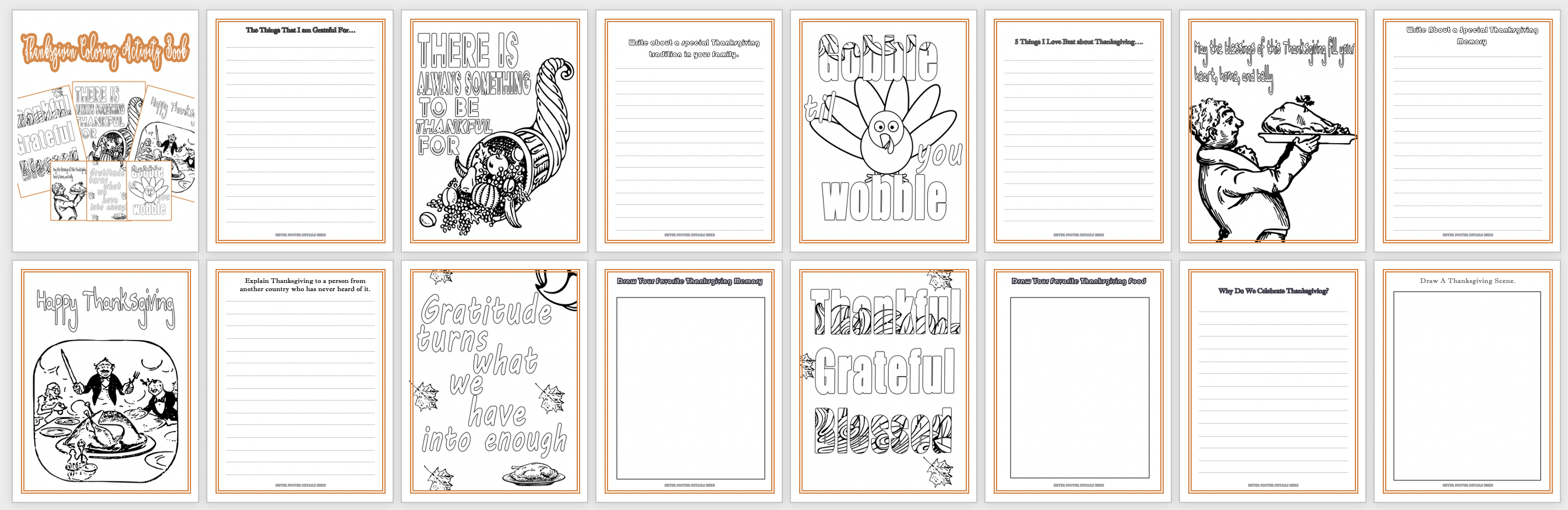 Kids Thanksgiving Activity Book