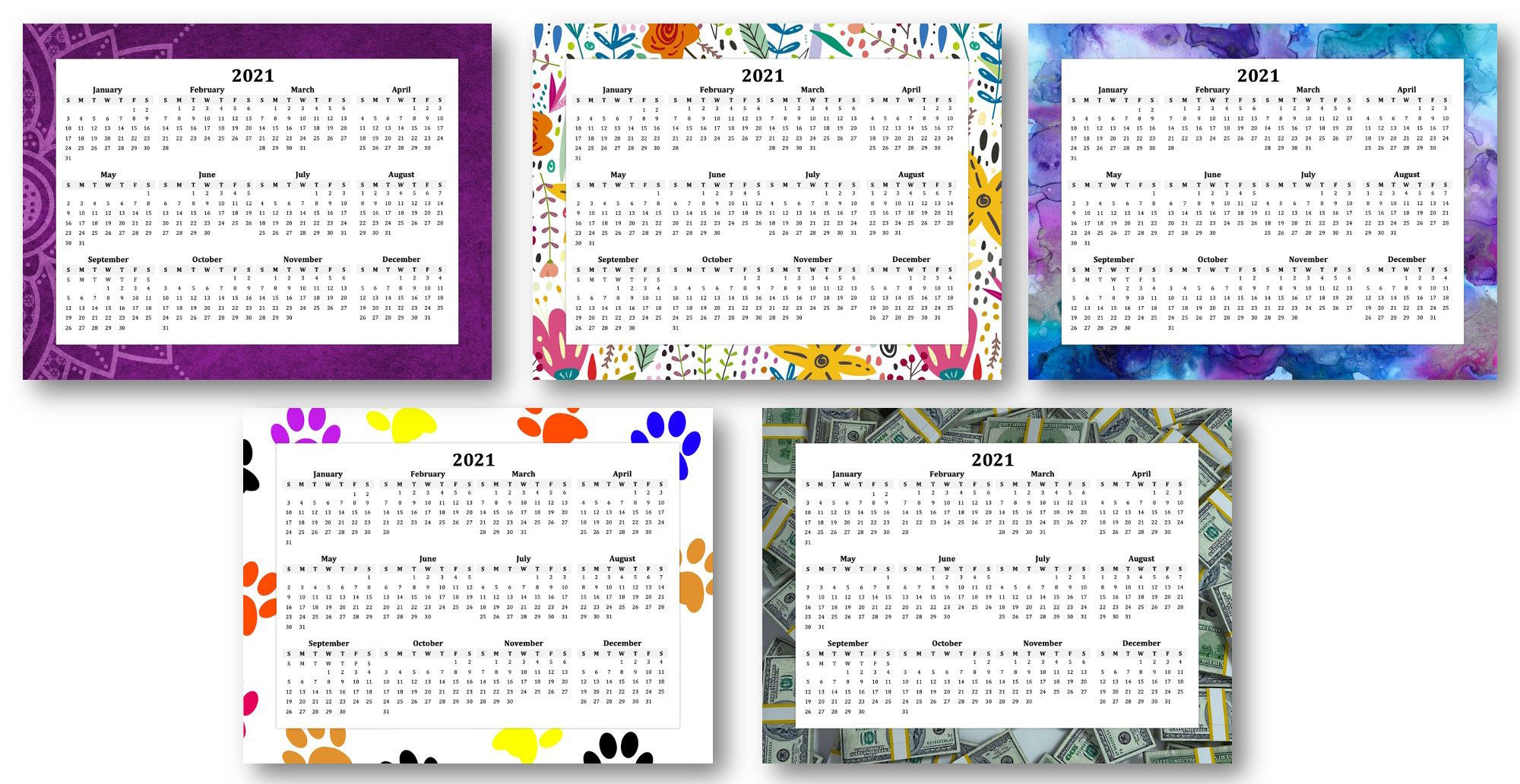 2021 At a Glance Calendars with PLR Rights