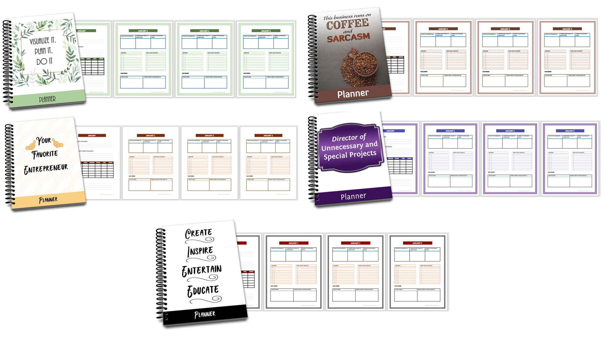 PLR Planners for Marketers and Entrepreneurs