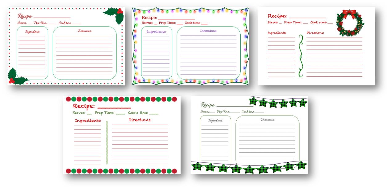 Christmas Recipes Cards PLR