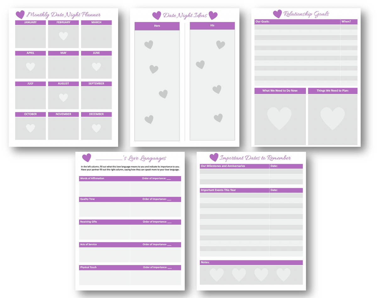 Love and Relationships Planner Pages