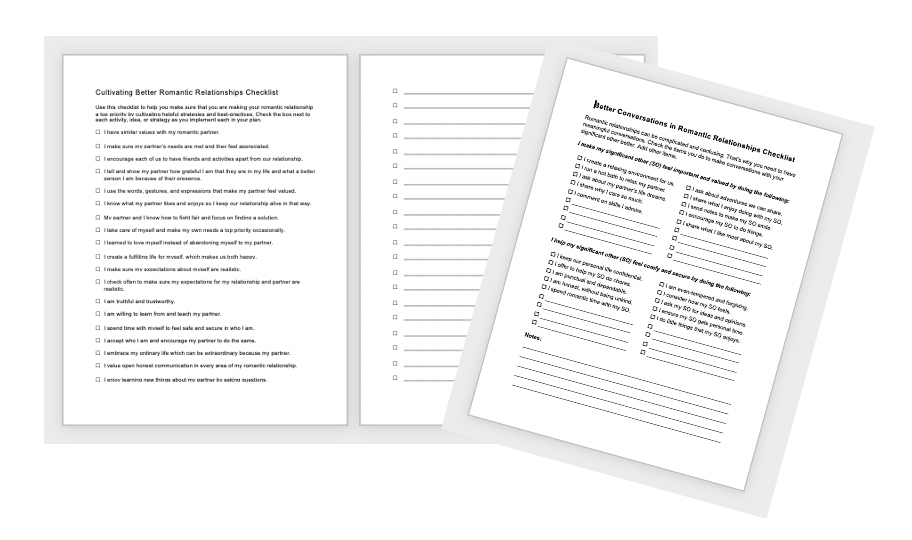Better Relationships Worksheets