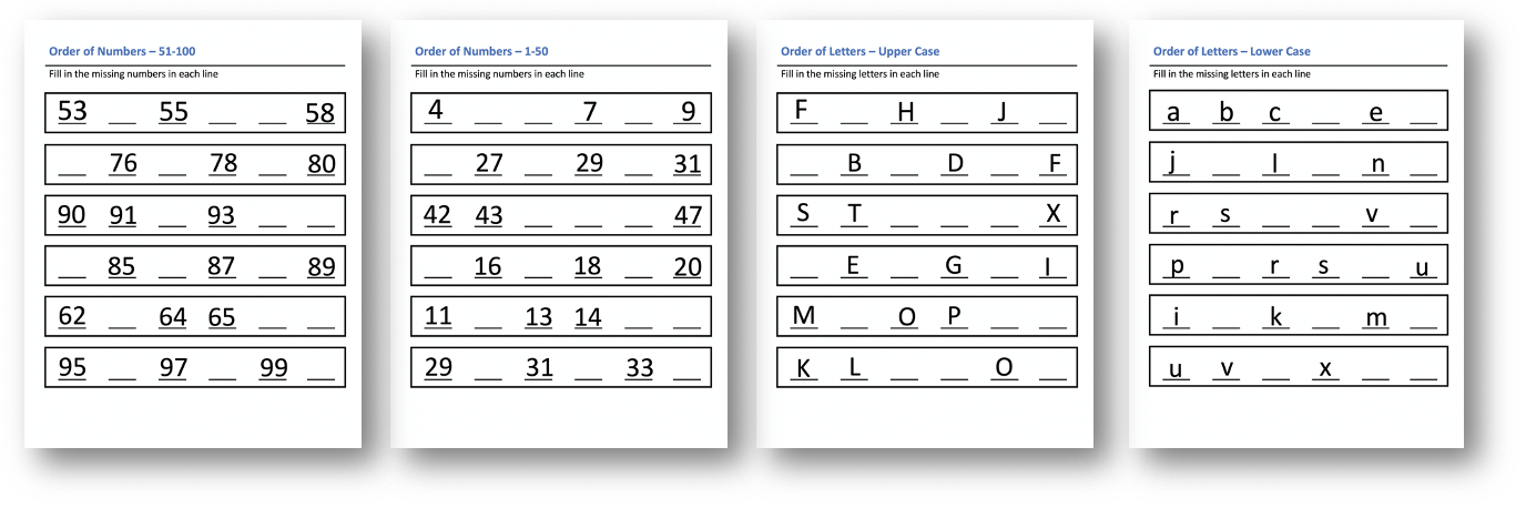 Order of Numbers and Letters