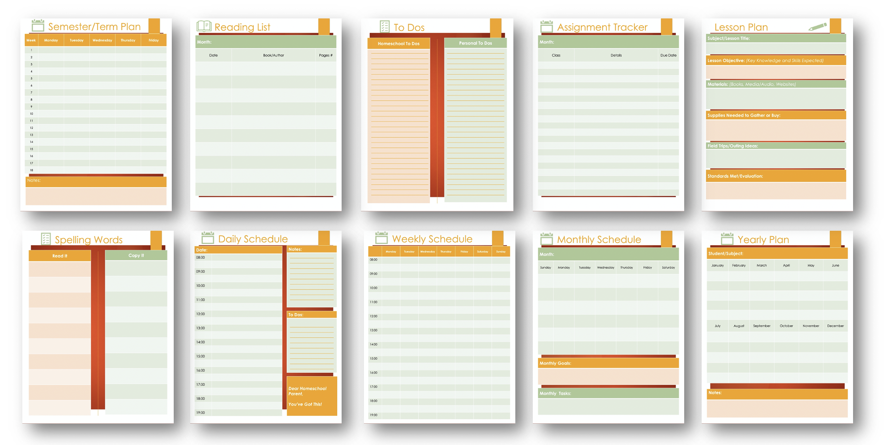 Parent Homeschooling Planner Pages