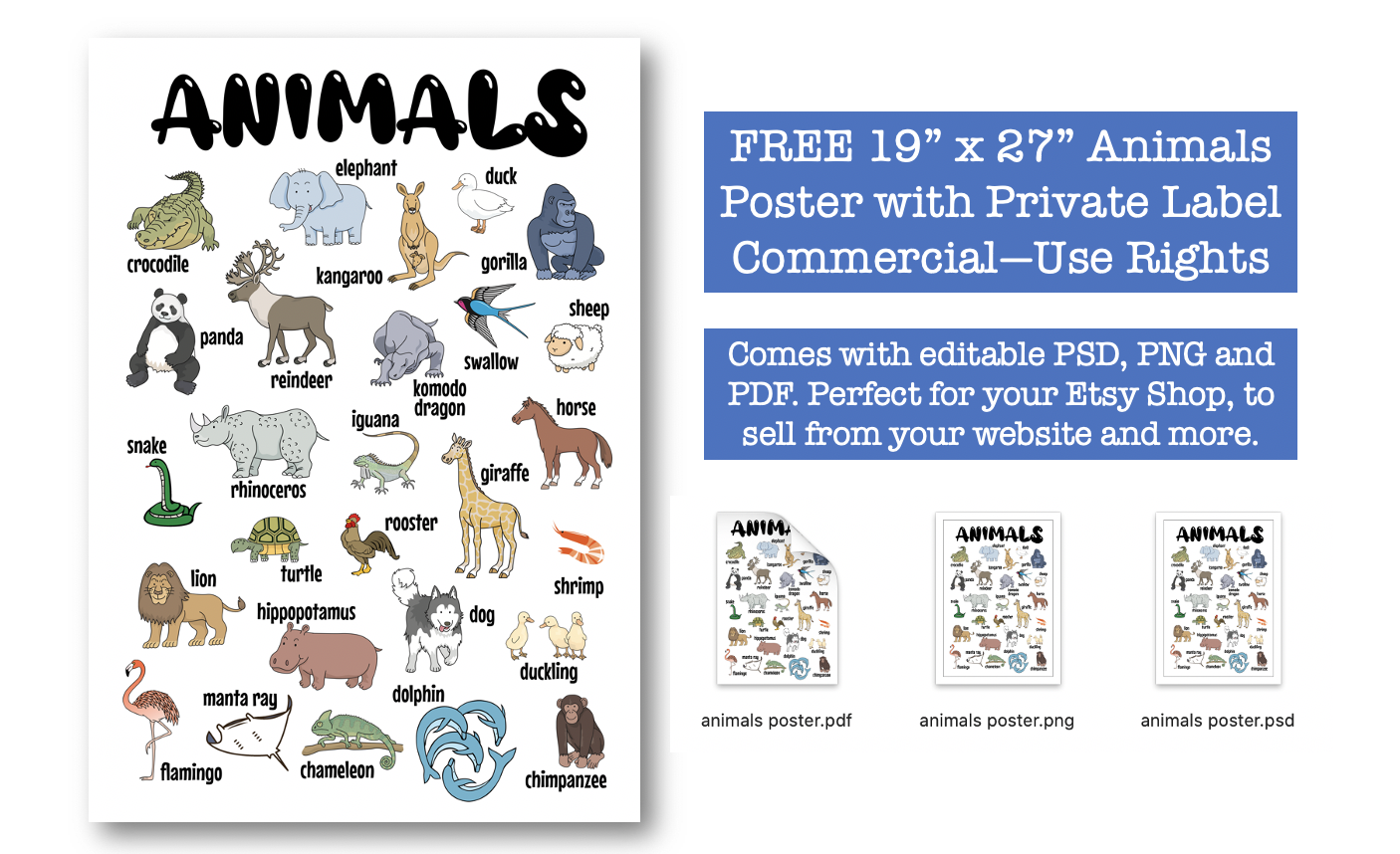 Free Animals Poster with PLR Rights