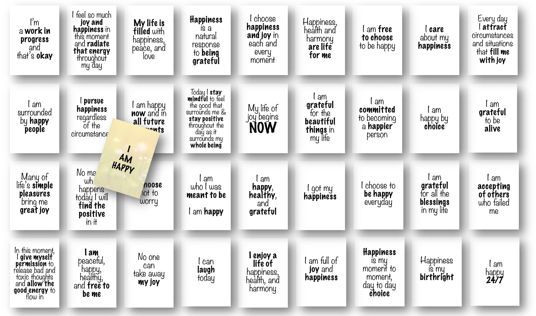 Happiness Affirmations Card Deck