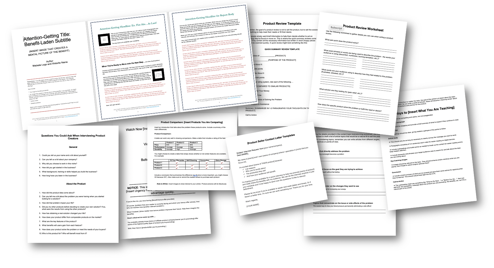 Content Templates and Worksheet