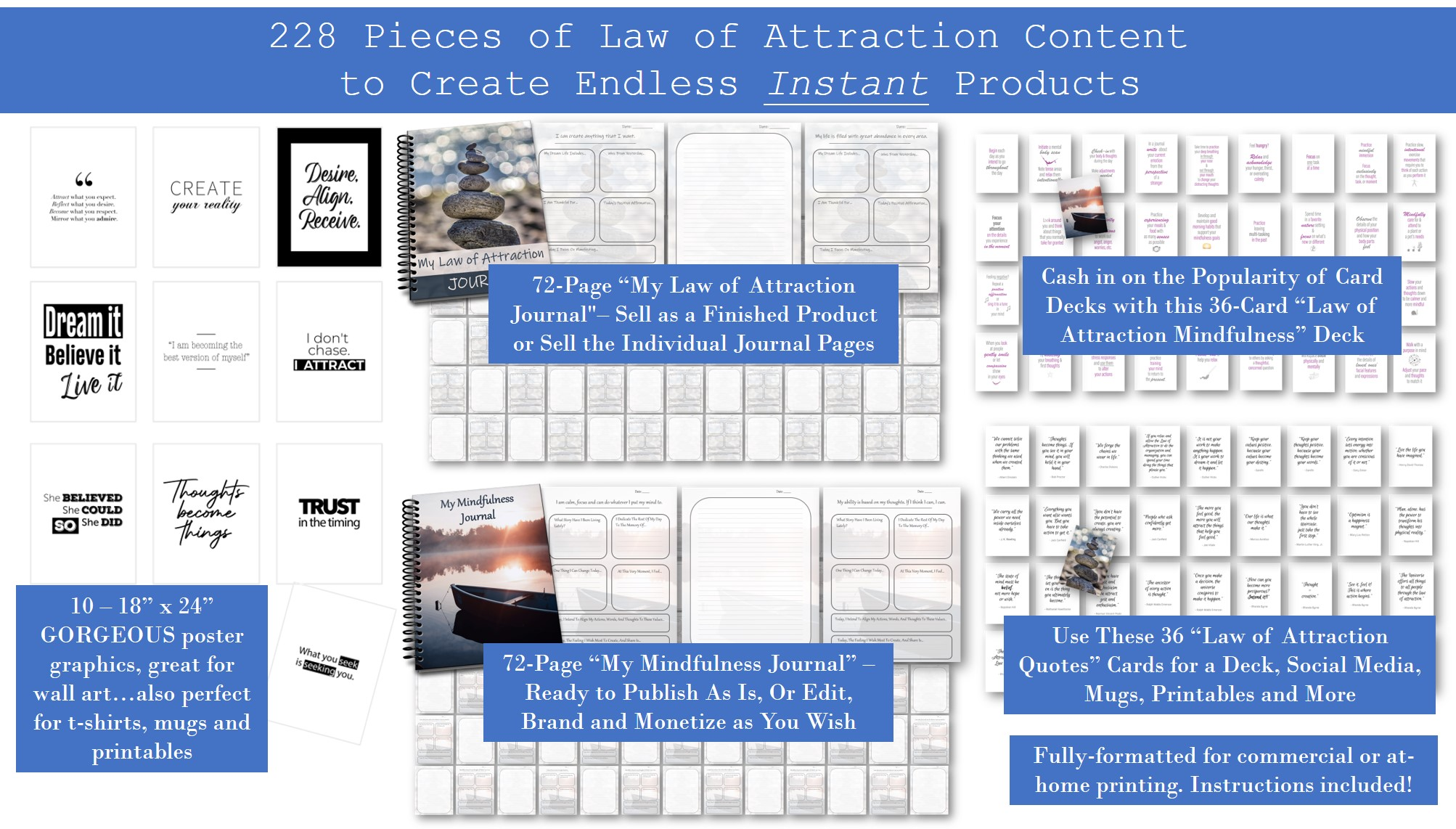 Law of Attraction Home Decor Journals and Card Decks