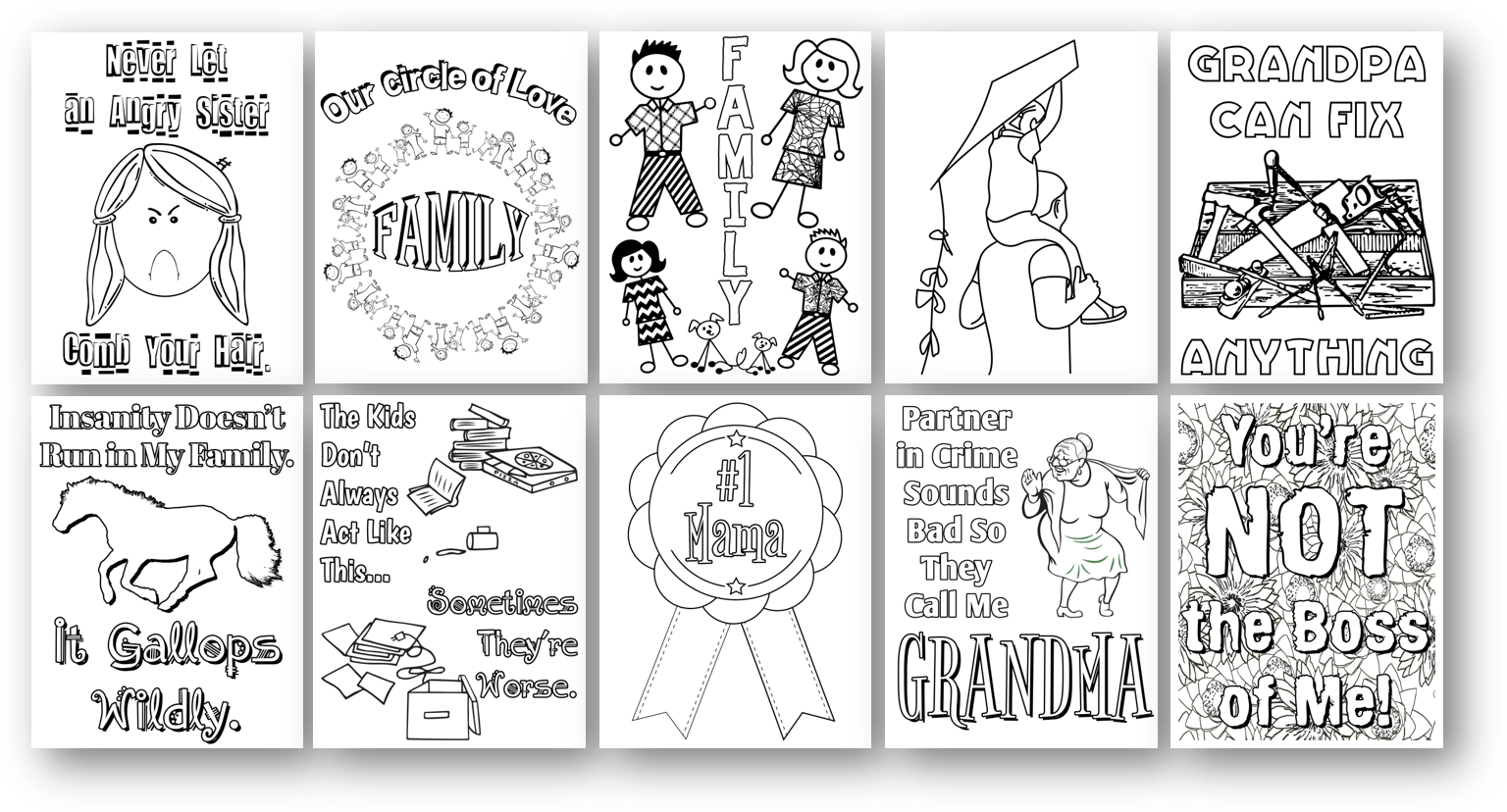 Family PLR Coloring Pages